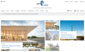 Main page of ArchDaily, a website founded and run by the Eurasian Prize Judge, David Basulto