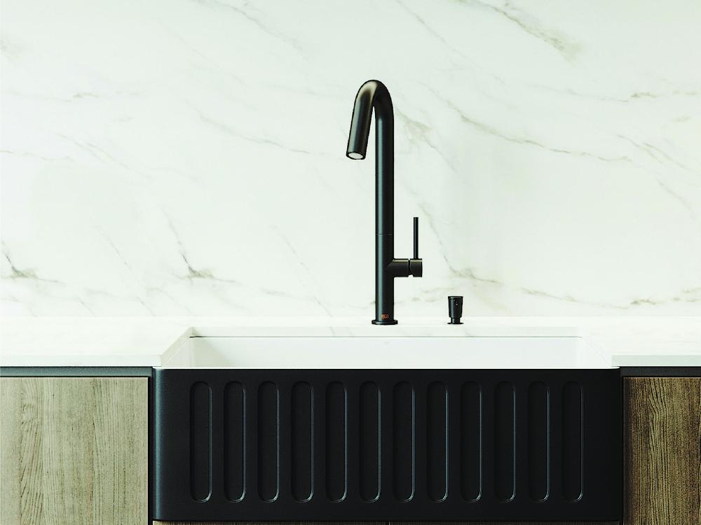 Matte Stone Onyx Farmhouse Sink and Matte Black Penumbra Faucet