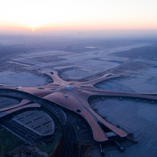 Beijing, China. 29th Dec, 2018. Aerial photo taken on Dec. 29, 2018 shows the Beijing Daxing International Airport under construction in Beijing, capital of China. The new airport's facade decoration project was completed on Friday. The airport is schedul